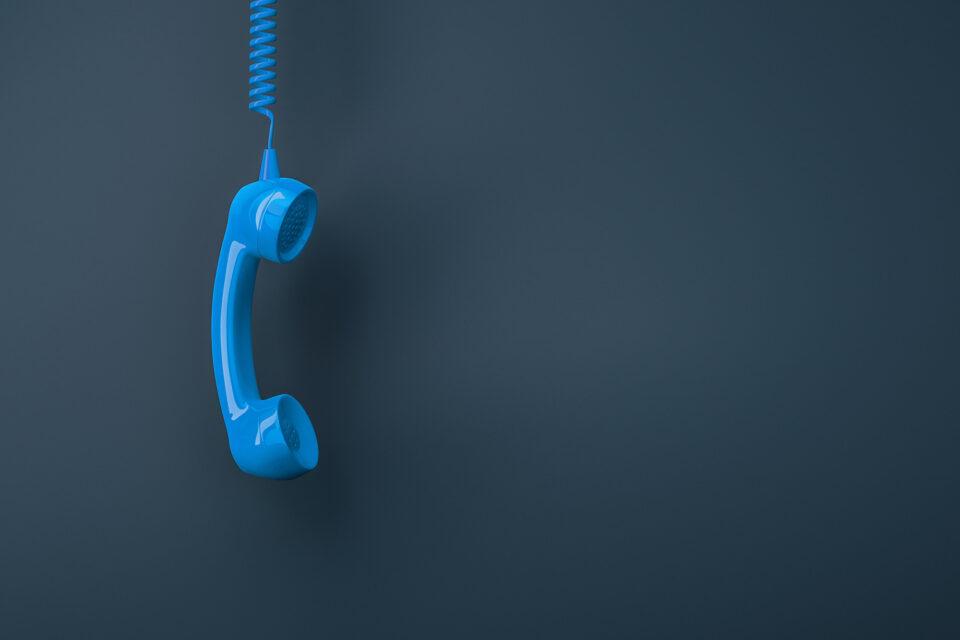 Telefonhörer in sasag Blau