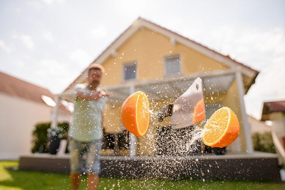 halbe Preise - Promo - orange halbieren - mobile